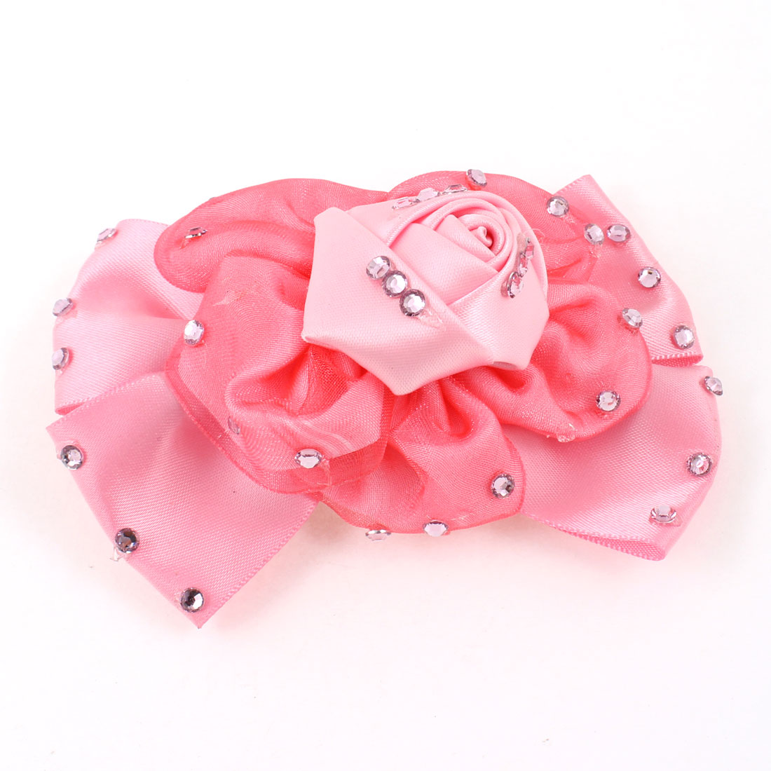 Shiny Rhinestone Decor Flower Designed Metal Alligator Hair Clip Pink for Lady