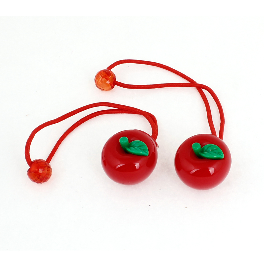 2PCS Girls Red Green Plastic Apple Ornament Elastic String Ponytail Hair Band