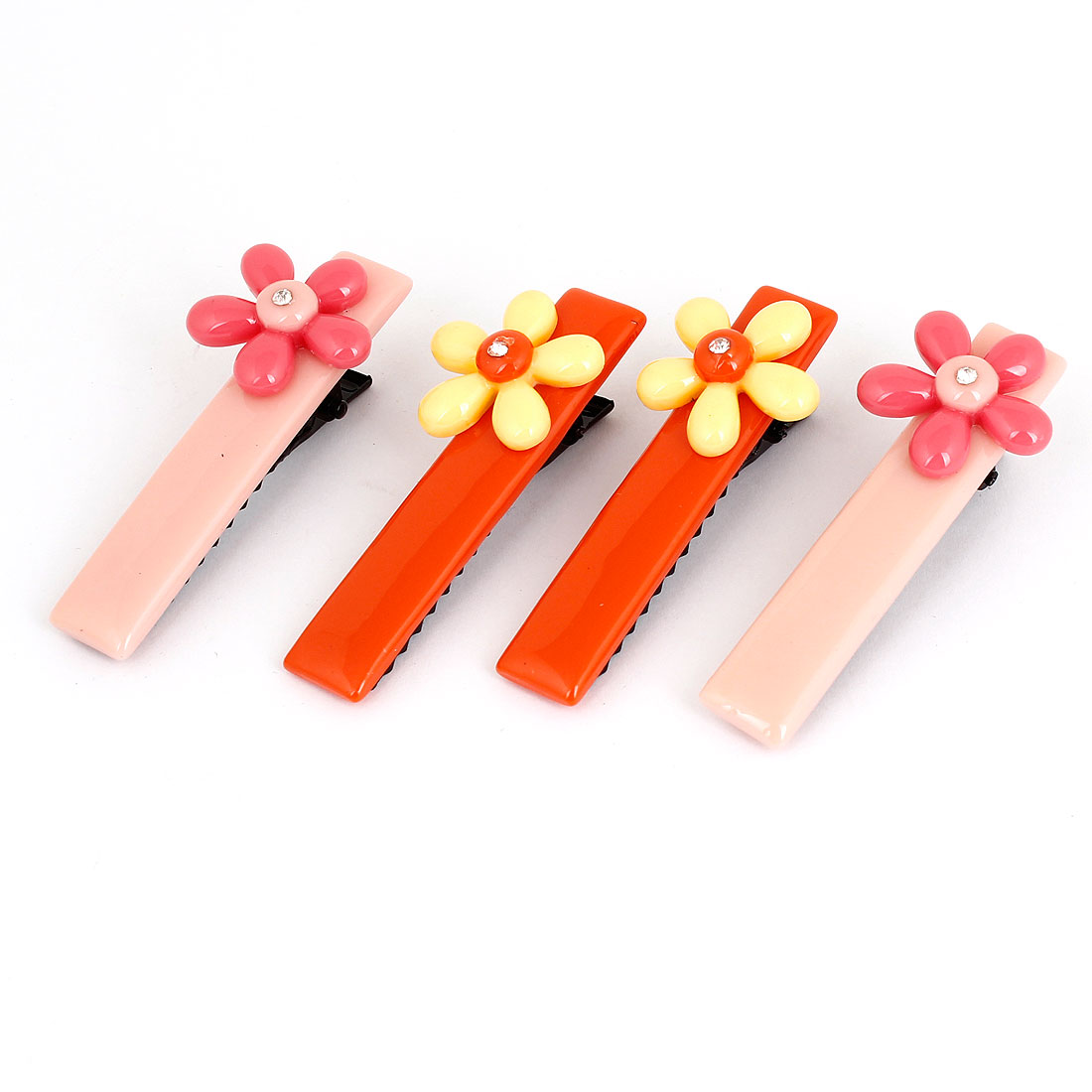 Lady Pink Orange Plastic Floral Accent Decor Alligator Hair Clips 2 Pairs