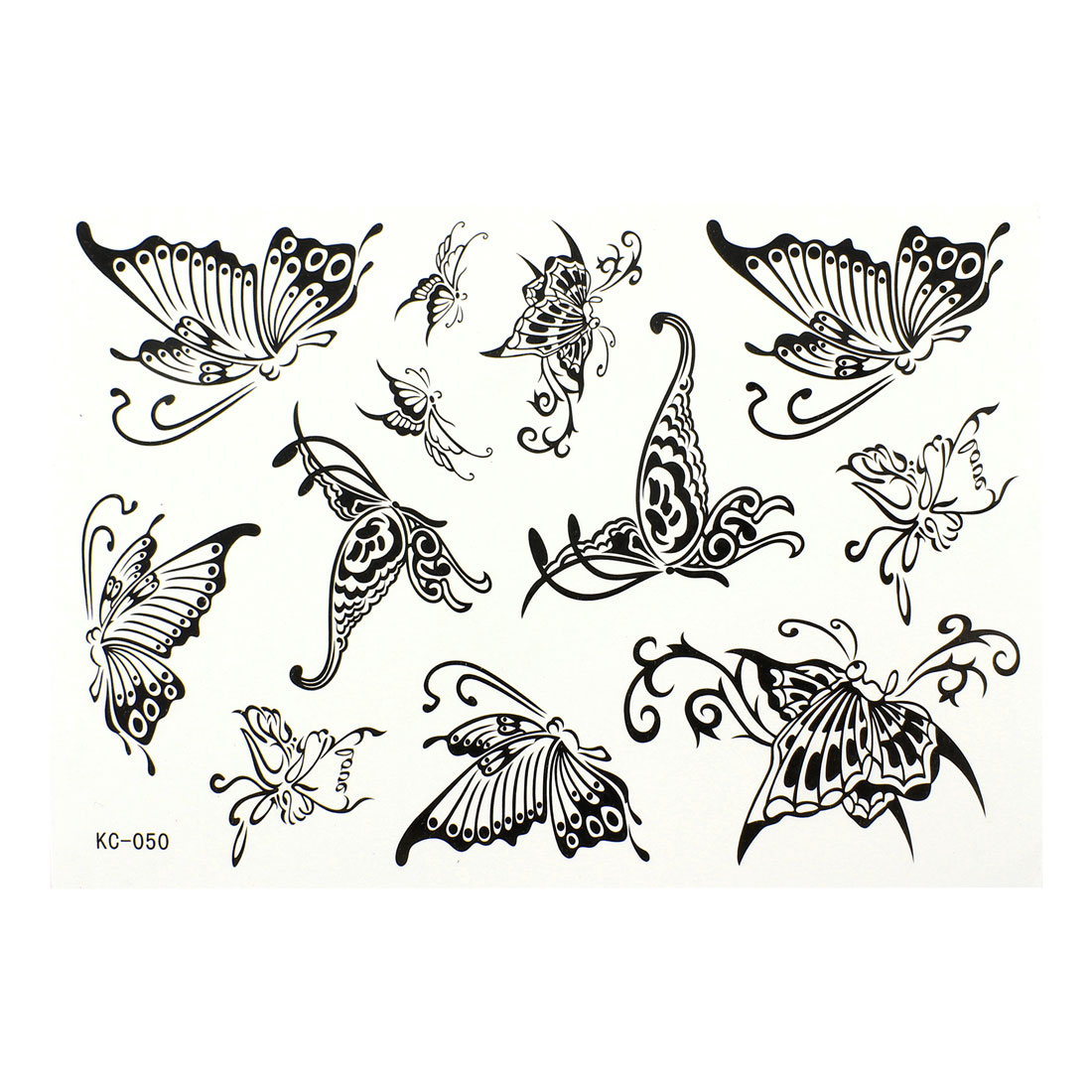 Black Butterfly Printed Temporary Transfer Tattoos Sticker Beauty Tool