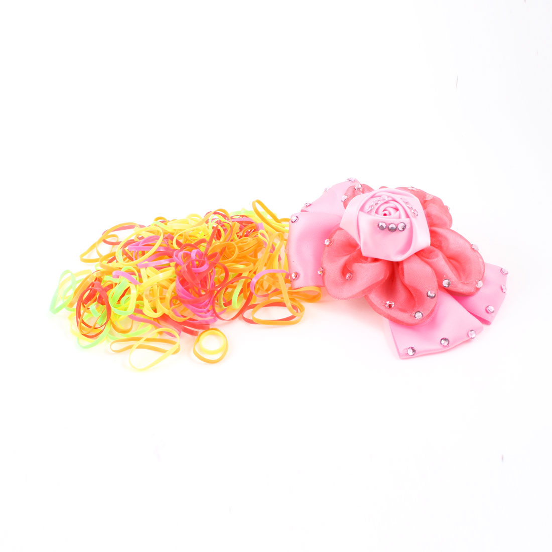 250 Pcs Elastic Rubber Band Hairband Rope Ponytail Holder w Alligator Hair Clip
