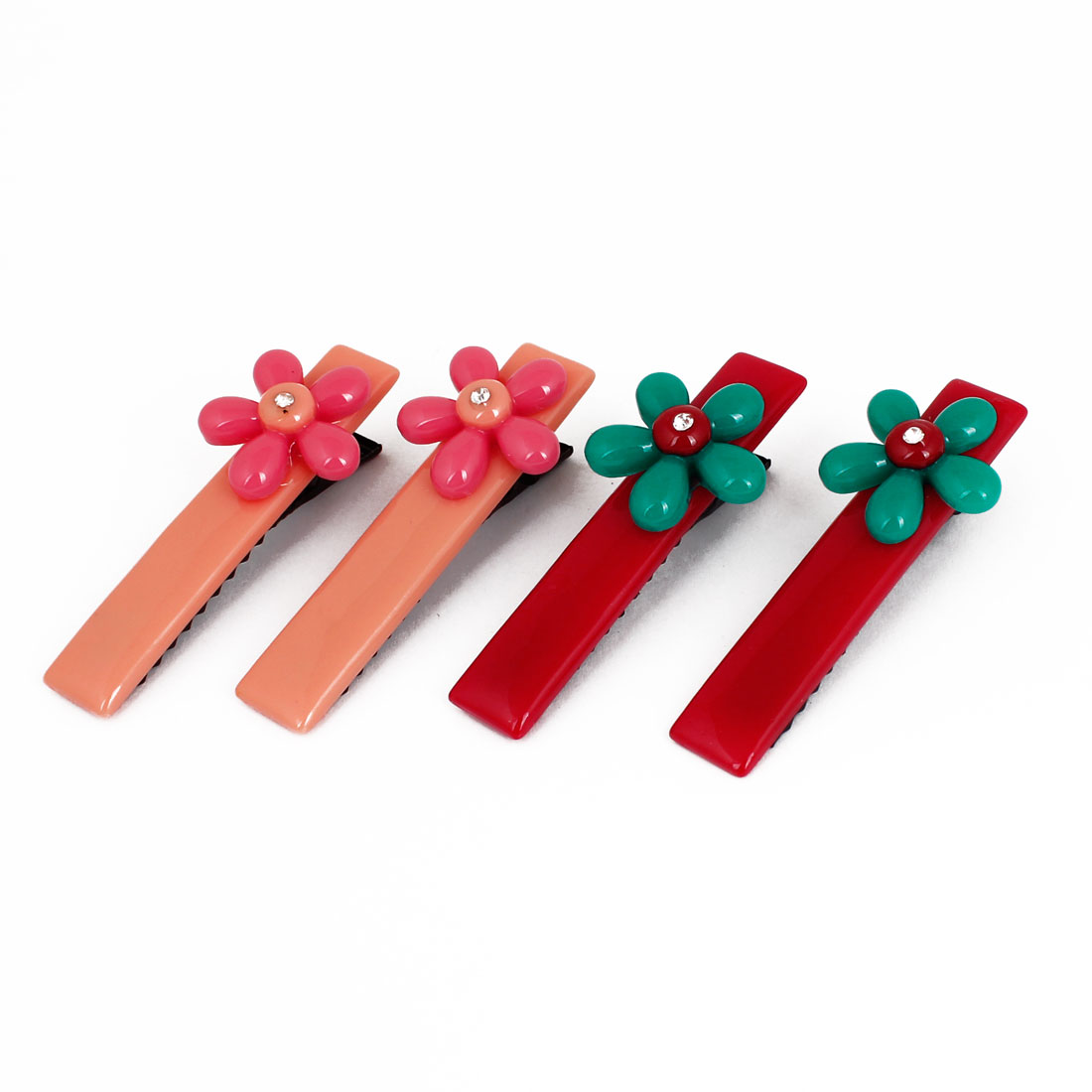 Women Hairdressing Plastic Flower Decoration Metal Hair Clips Red Pink 4 Pcs