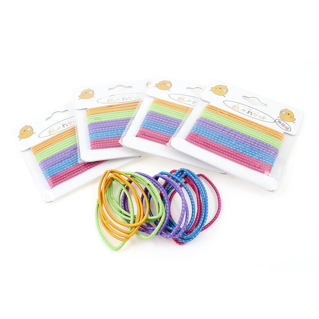 5 Packs Multicolored Elastic Band Ponytail Holder Hairband for Ladies