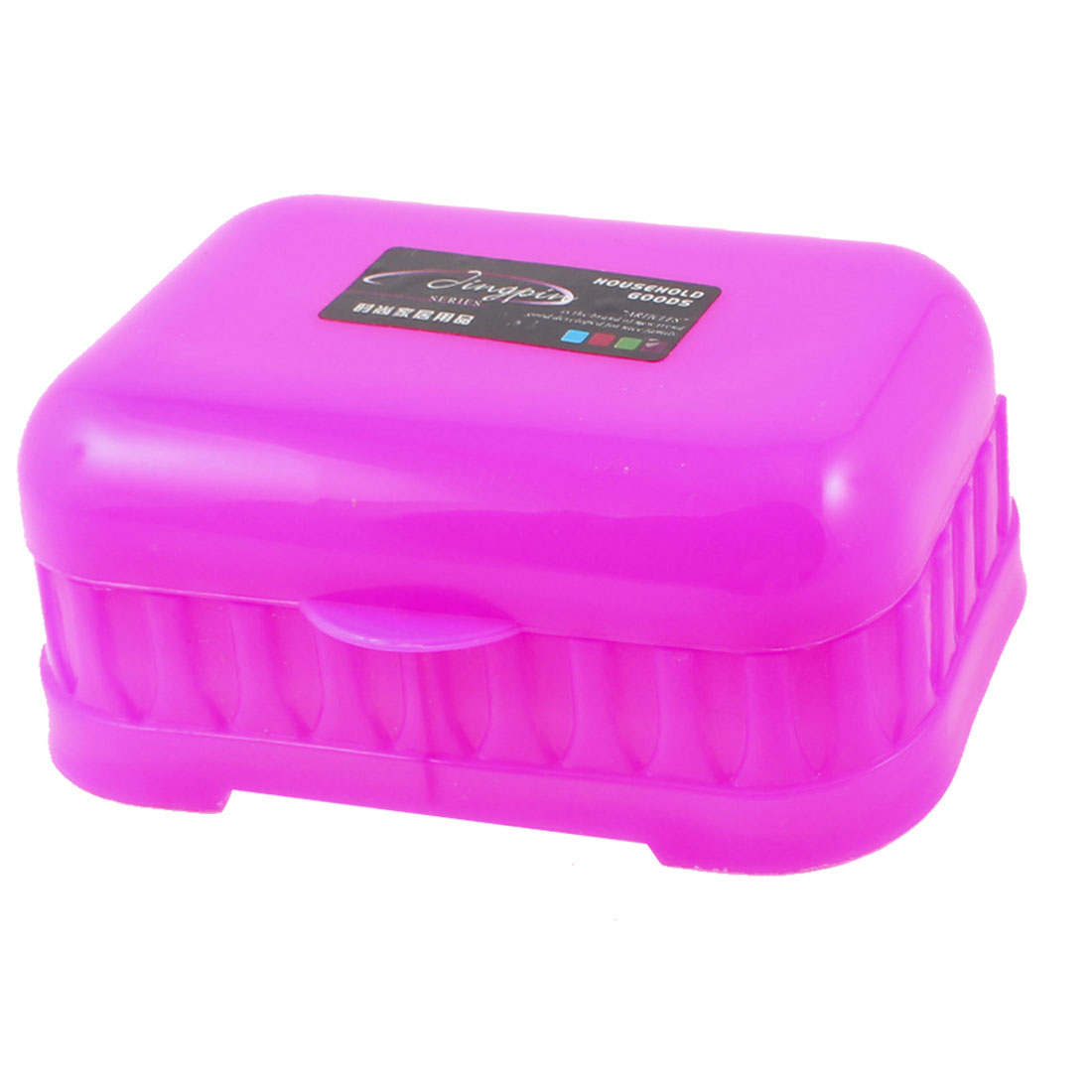 Household Rectangle Shape Plastic Plastic Soap Dish Holder Box Fuchsia