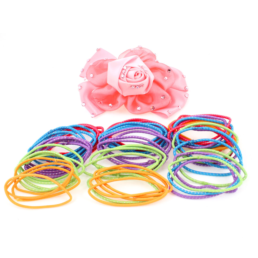 3 Packs Assorted Color Elastic Band Hair Tie Hairband w Pink Alligator Hair Clip