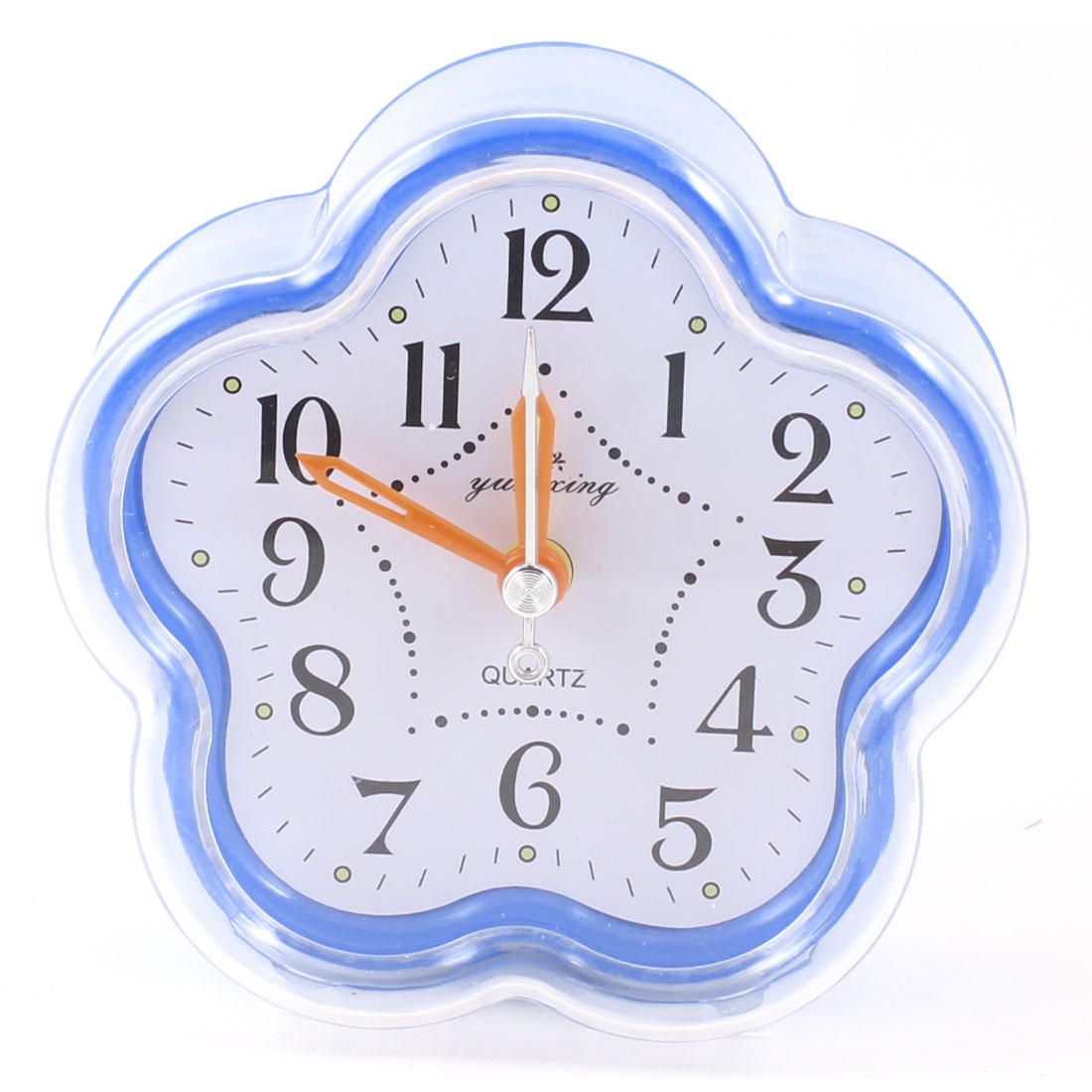 Household Blue White Plastic Shell Flower Shaped Glass Dial Desk Clock