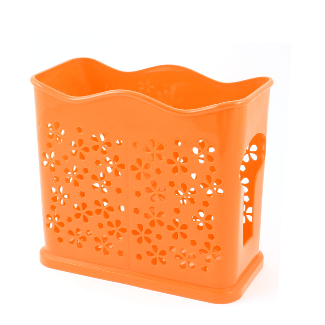 Hollow Out Flower Perforated 2 Compartments Chopsticks Spoon Cage Holder Orange