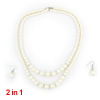 Wedding Off White Faux Pearl Rhinestones Dual Layers Necklace Earrings Jewelry Set 2 in 1