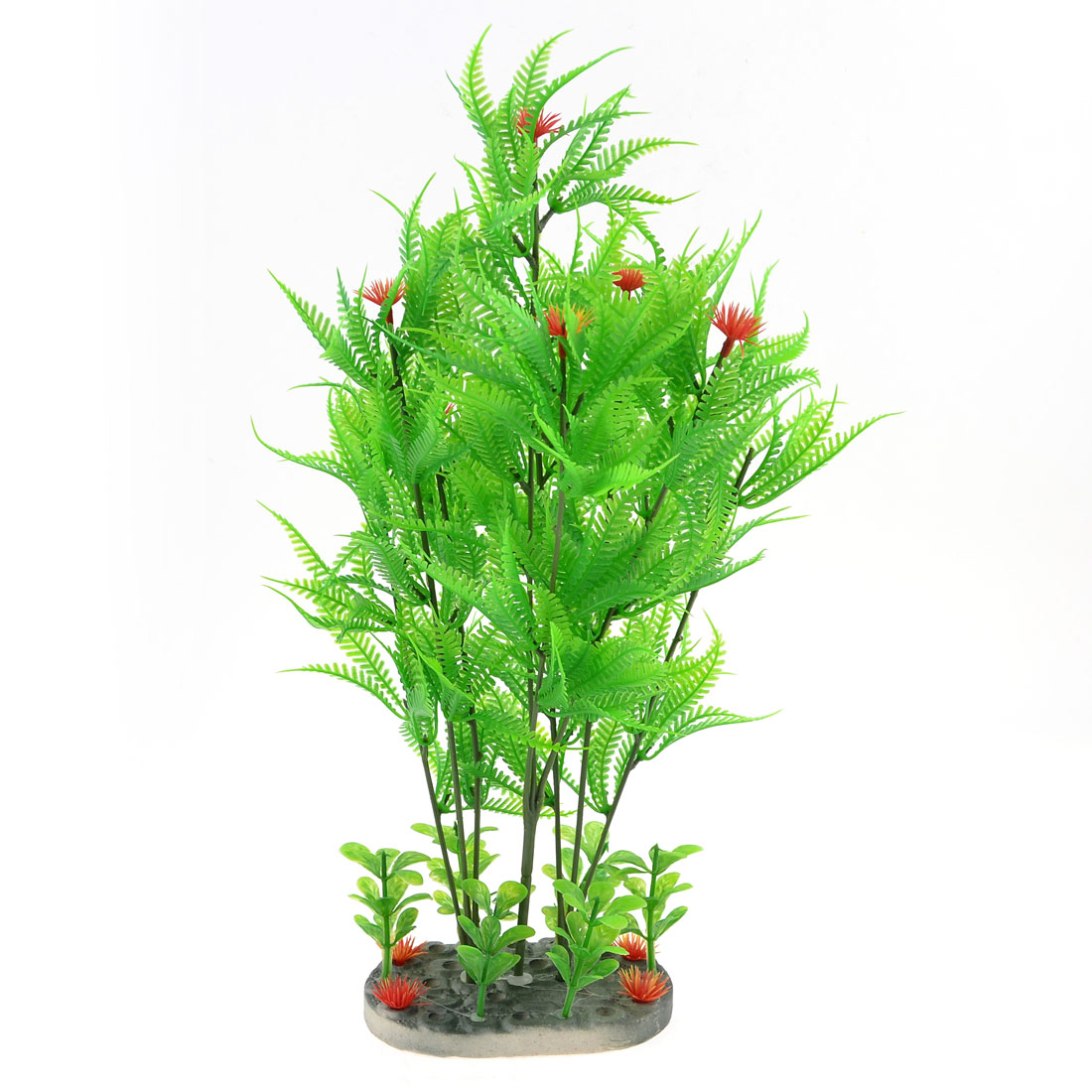 Green Leaves Mapleleaf Red Flower Plastic Plant Decor for Fish Tank Aquarium