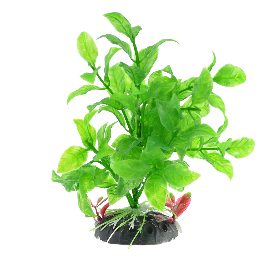 "Ceramic Base Manmade Plastic Green Vivid Grass Plants 5.9"" High for Fish Tank"