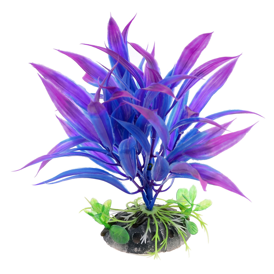 "Artificial Aquarium Tank Purple Blue Plastic Plant Decor 5.9"" High"