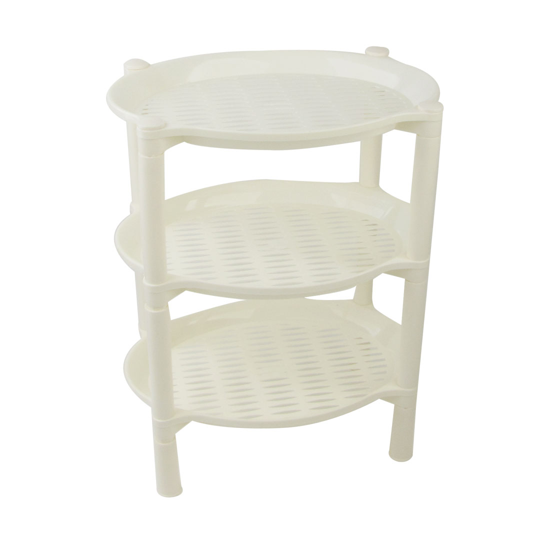 Household Ellipse Detachable Three Layer Off White Plastic Shelves Storage Rack