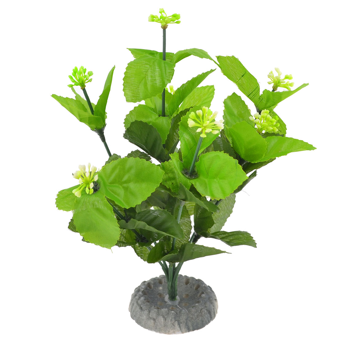"Ceramic Base Green White Plastic Plant for Fish Tank 8.9"" High"