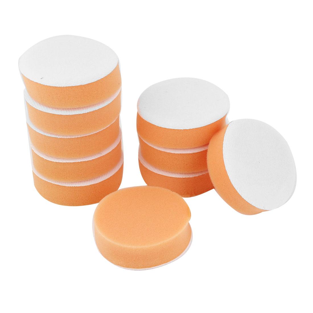 10PCS Orange Rounded Sponge Polisher Scourer Tool 7.5cm Dia for Car