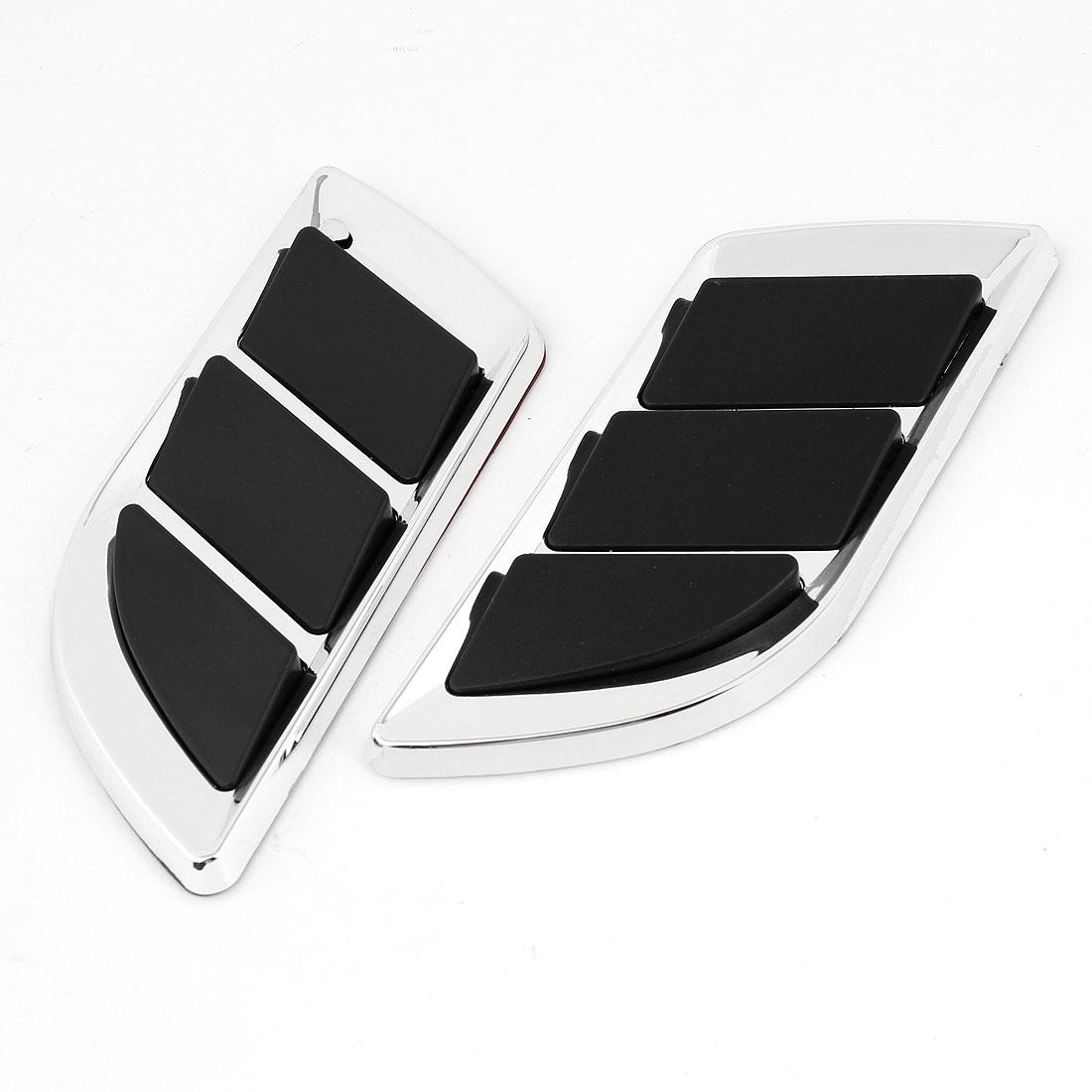 Vehicle Car Plastic Air Flow Fender Side Vent Sticker Black Silver Tone Pair
