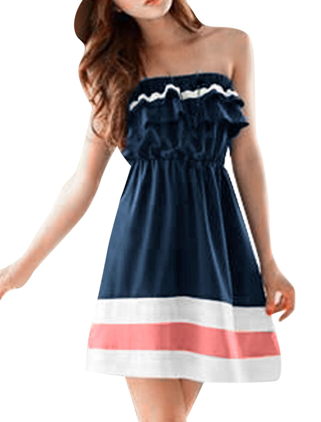 Pullover Strapless Elastic Waist Dark Blue Tube Dress XL for Lady