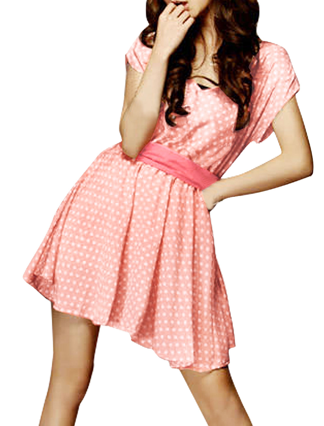 White Dots Printed Pink Sash Belted Mini Dress XL for Lady