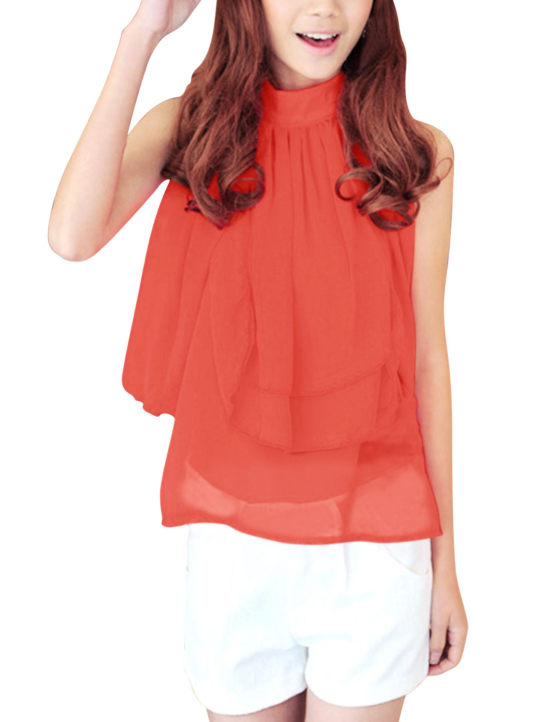 Women Chic Stand Collar Sleeveless Panel Design Watermelon Red Top L