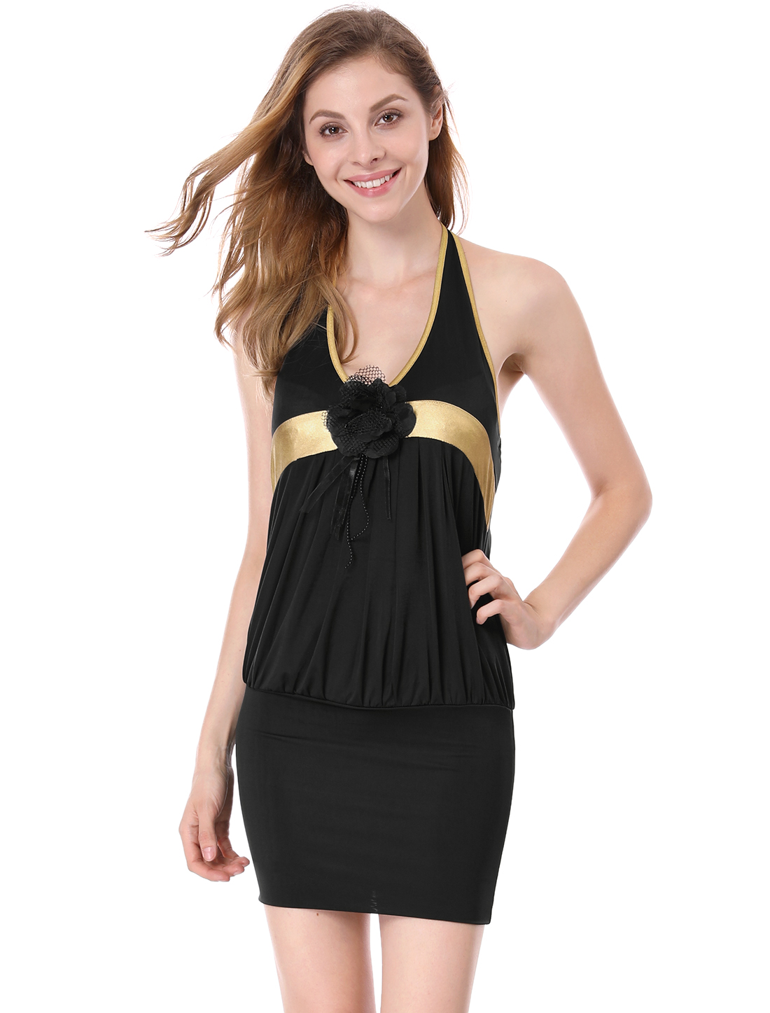Pullover Chic Corsage Decor Front Black Clubwear Mini Dress XL for Lady