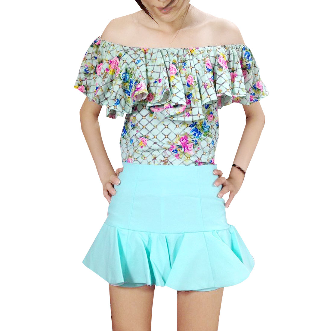Women Self Tie Shoulder Strap Blouse + Pale Cyan Flounce Decor Divided Skirt XS