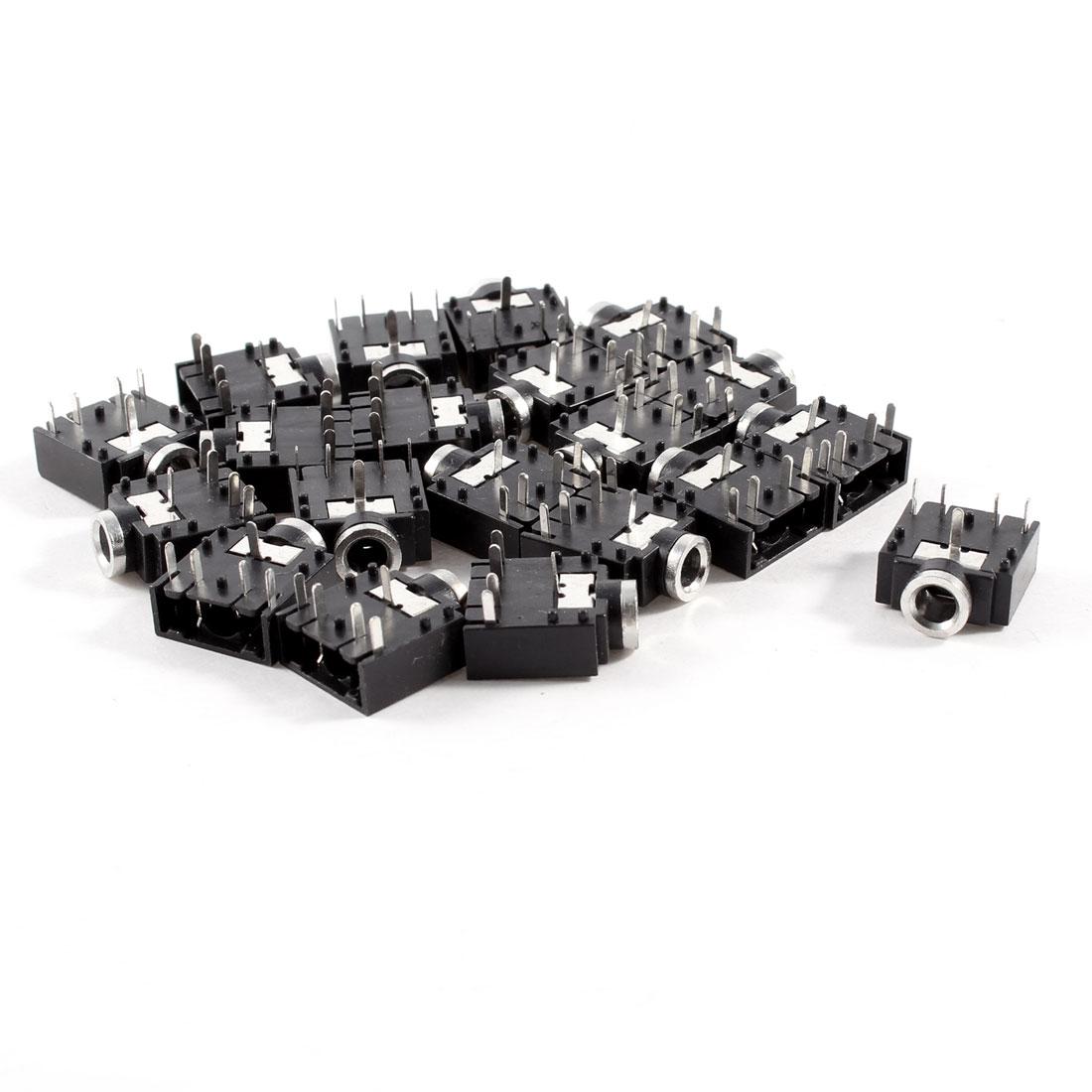 20 Pcs DIP PCB Mount 5 Pins 3.5mm Socket Headphone Stereo Audio Jack