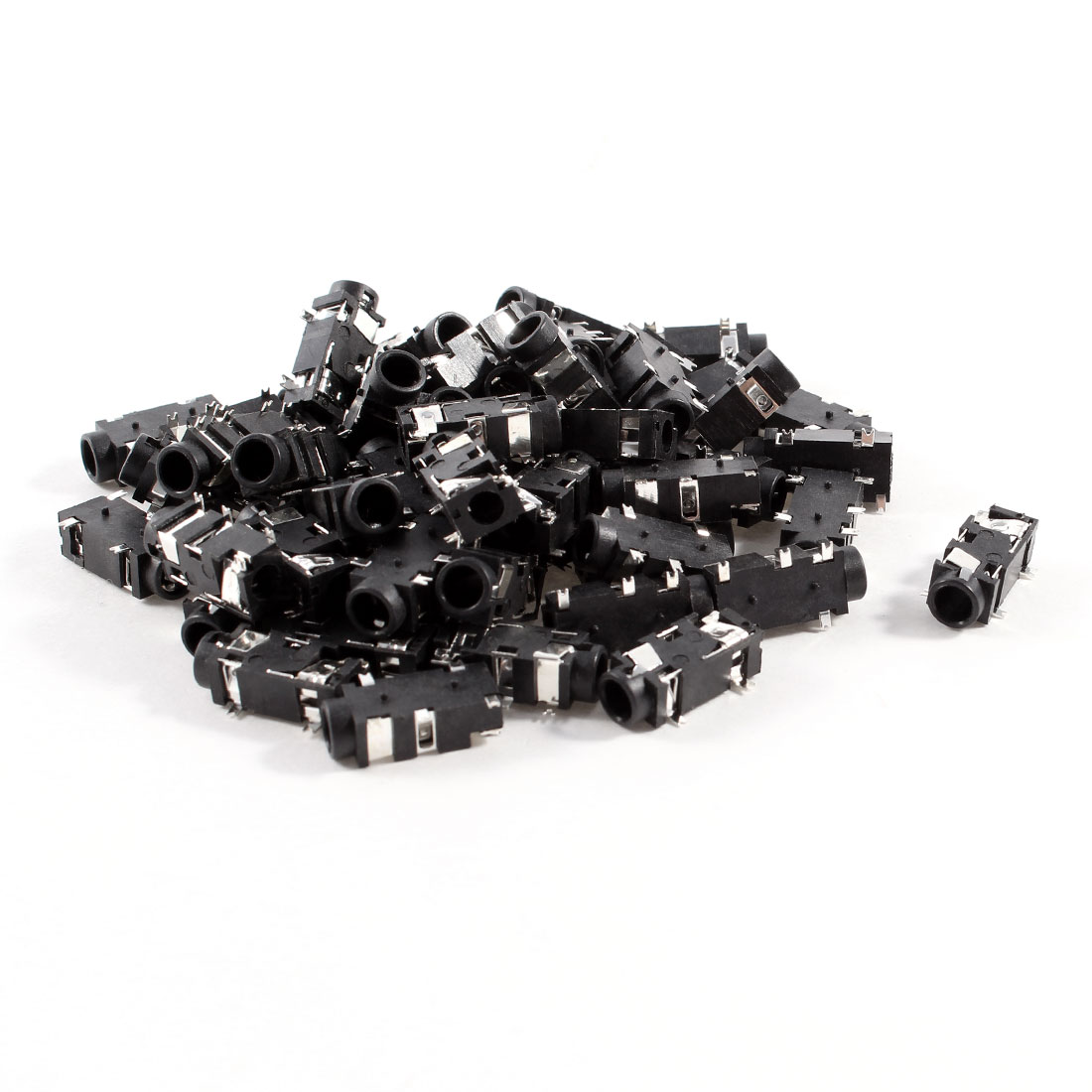 60 Pcs 5-Pin 3.5mm Female Headphone Stereo Socket Jack Adapter Black
