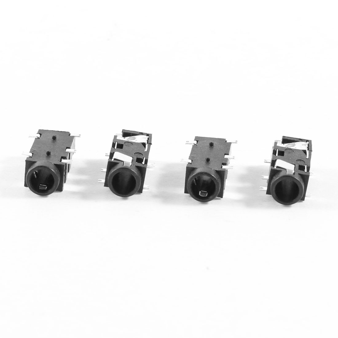 4 Pcs 5-Pin 3.5mm Female Headphone Stereo Socket Jack Adapter Black
