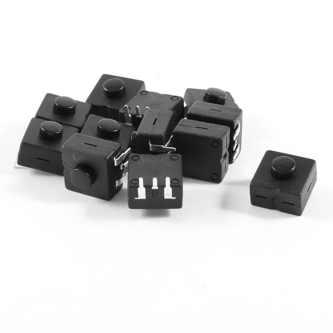 12 Pcs Vertical 3 Terminals Latching Square Torch Push Button Switch Black