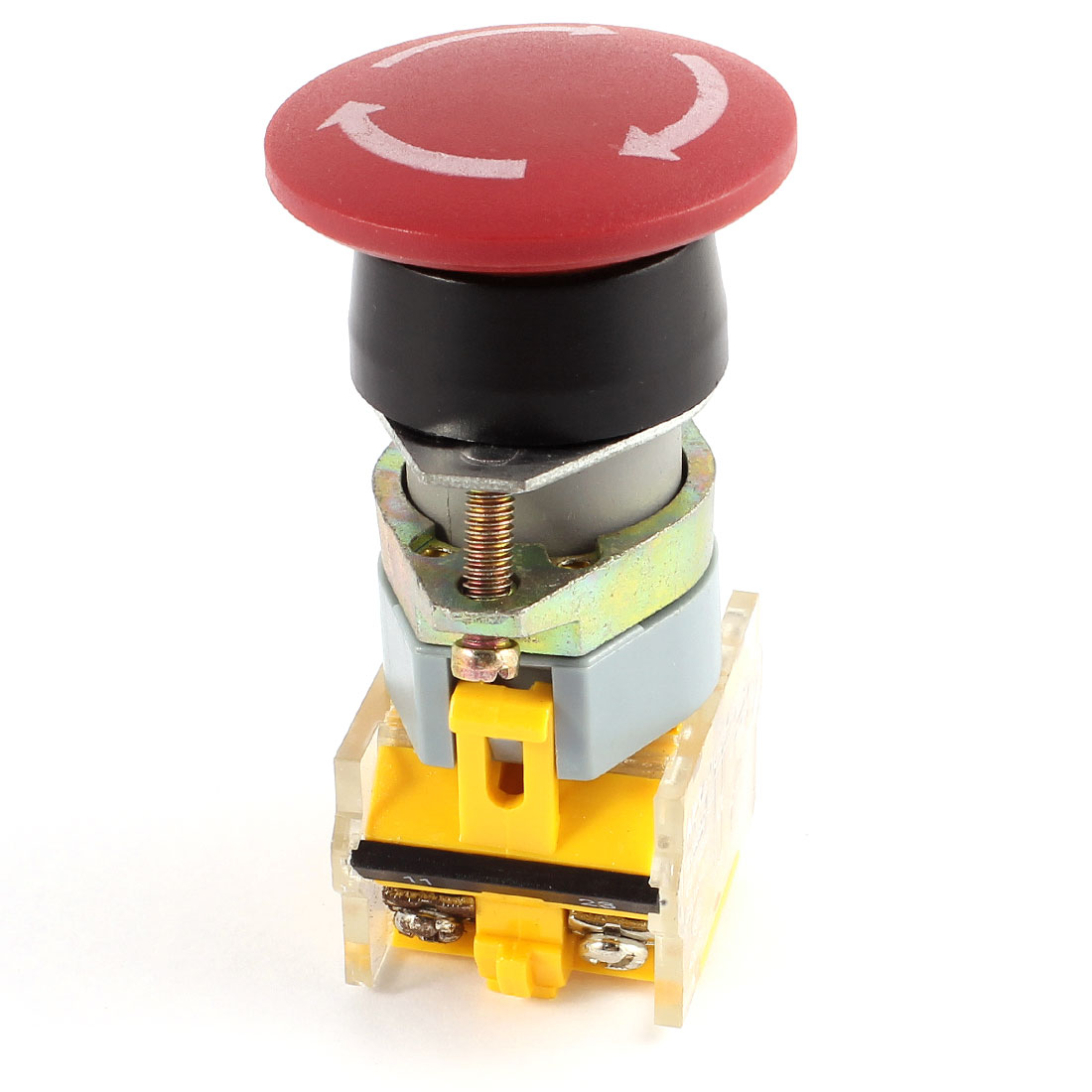 AC 660V 10A DPST Red Mushroom Self-Locking Emergency Stop Push Button Switch
