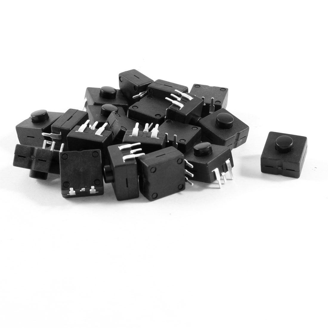 20 Pcs Vertical Latching Square Torch Push Button Switch Black