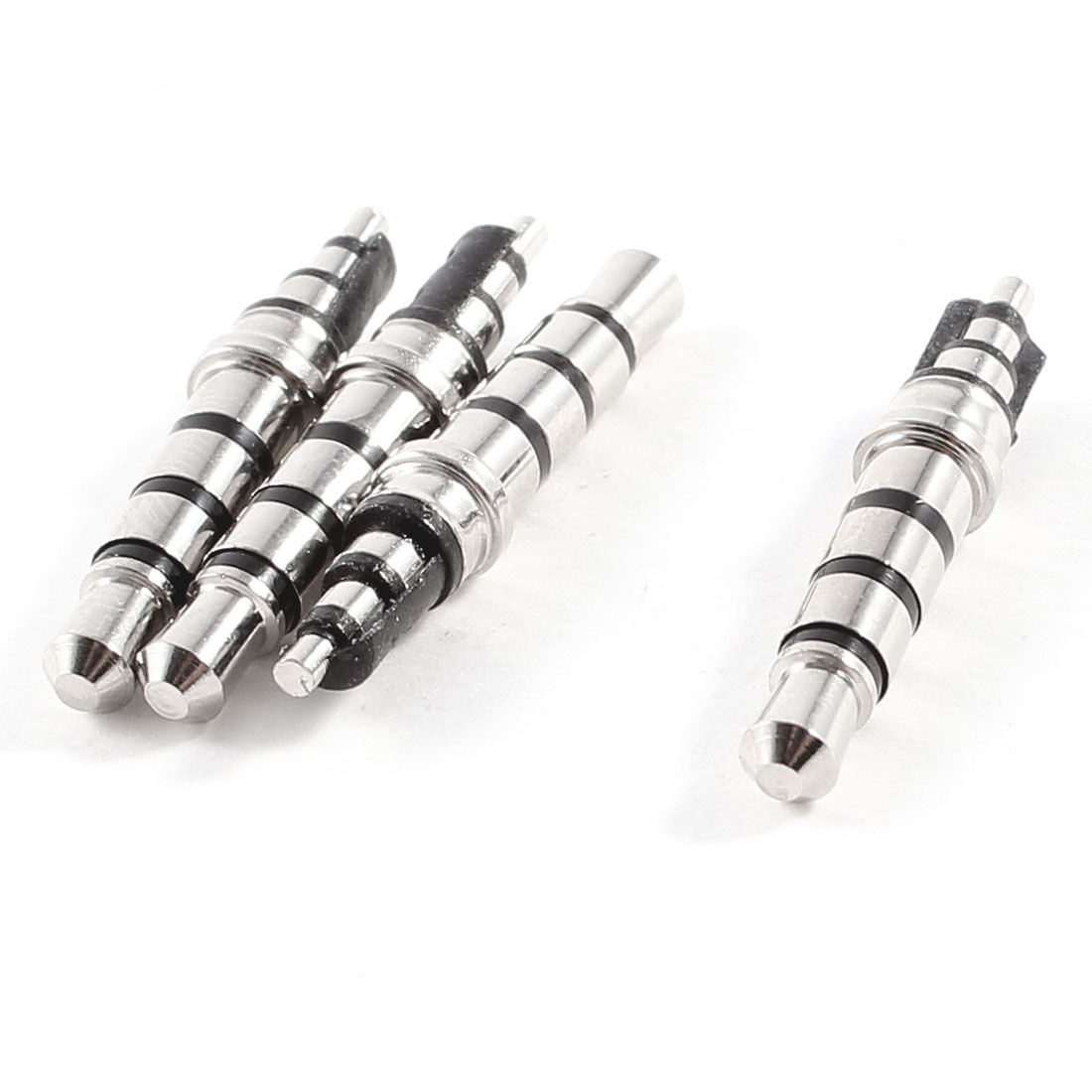4pcs 3.5mm x 4.5mm x 24mm 4 Pole Male Connector Headphone Soldering Jack Silver Tone