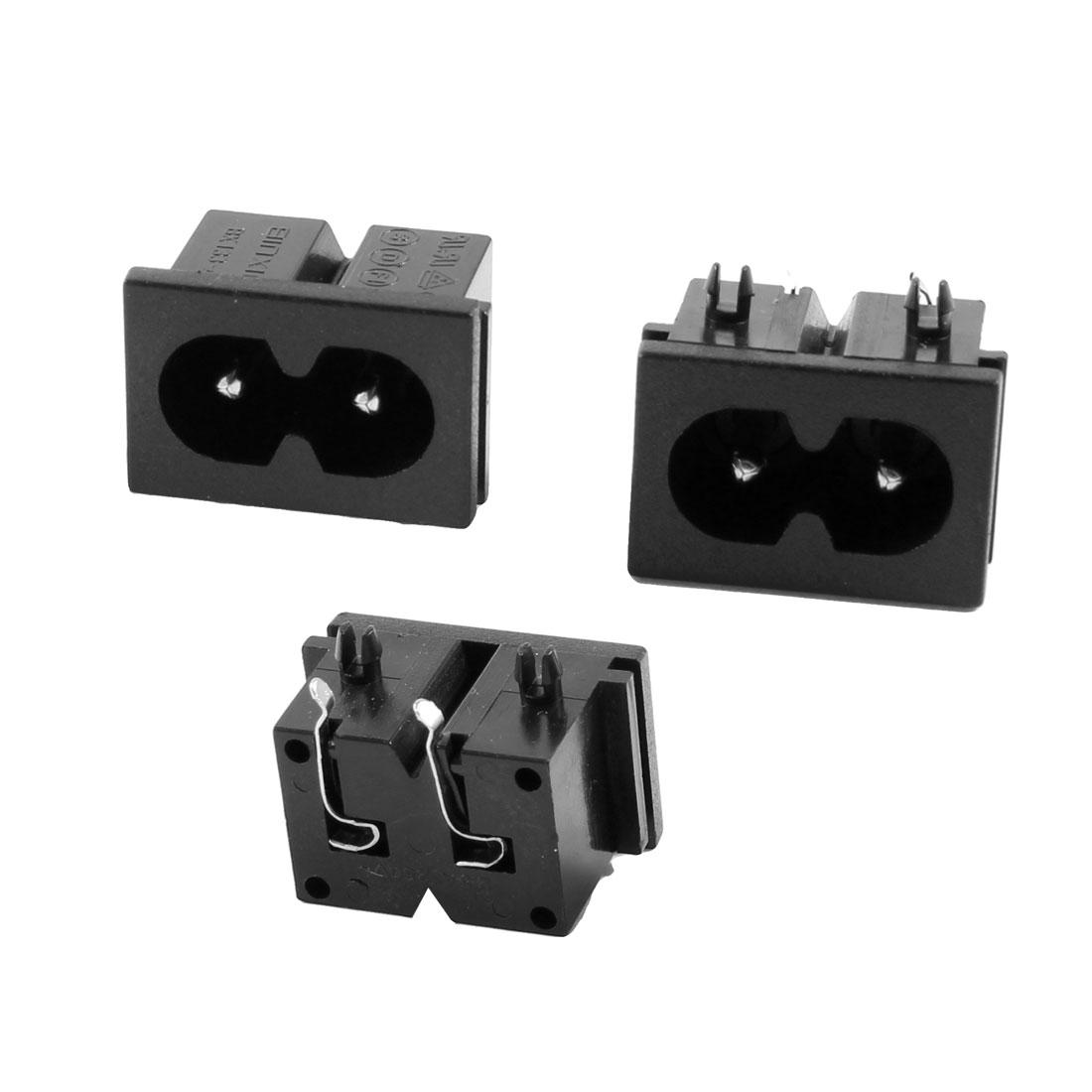 3 Pcs AC 250V 2.5A 2 Poles IEC320 C8 Power Inlet Socket Connector Solder