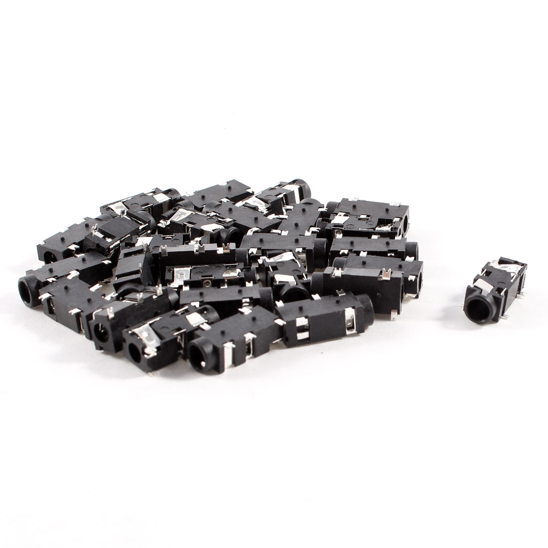 30 Pcs 5-Pin 3.5mm Female Headphone Stereo Socket Jack Adapter Black