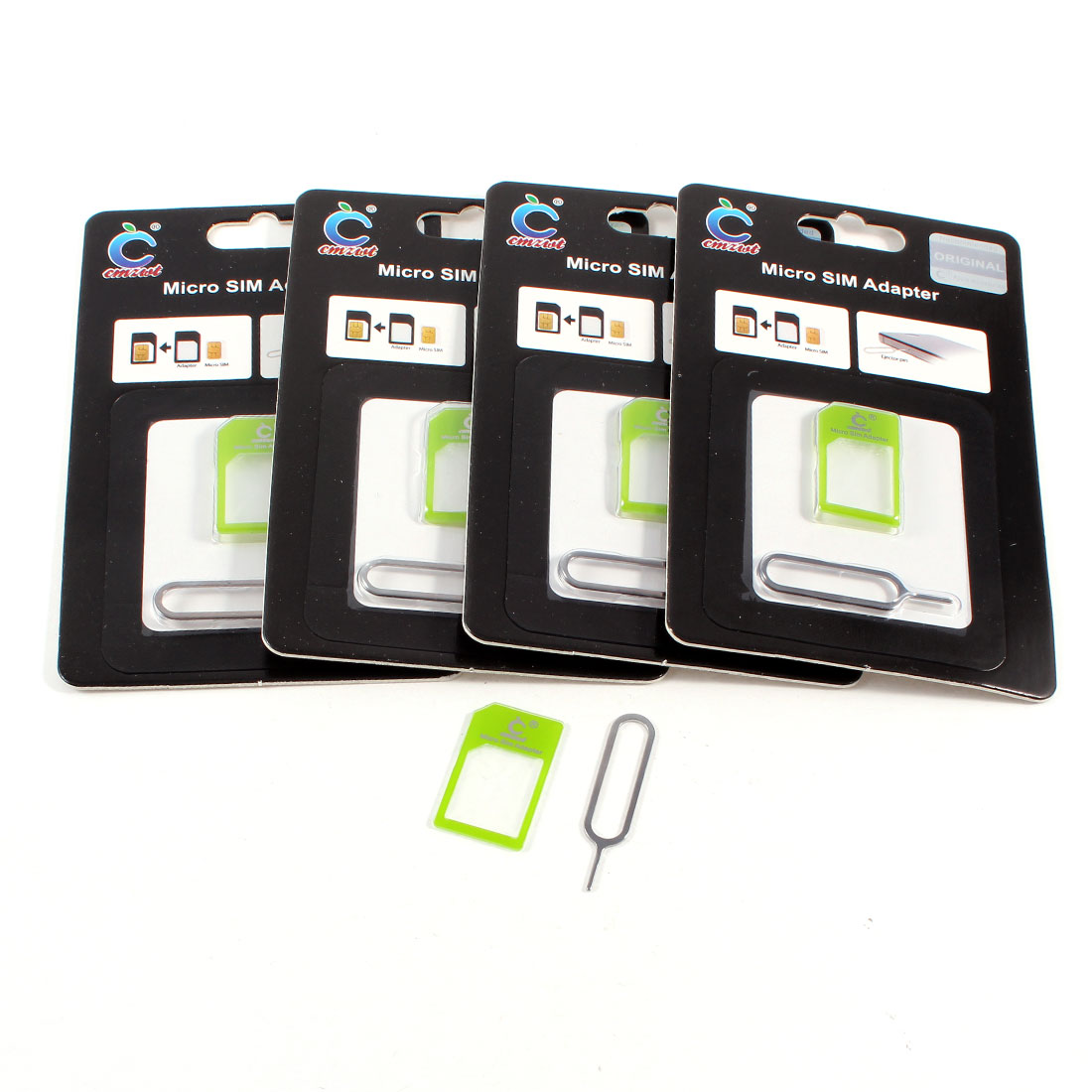 5 Sets Cell Phone 2 in 1 Micro SIM to Standard SIM Card Adapter Green w Eject Pin