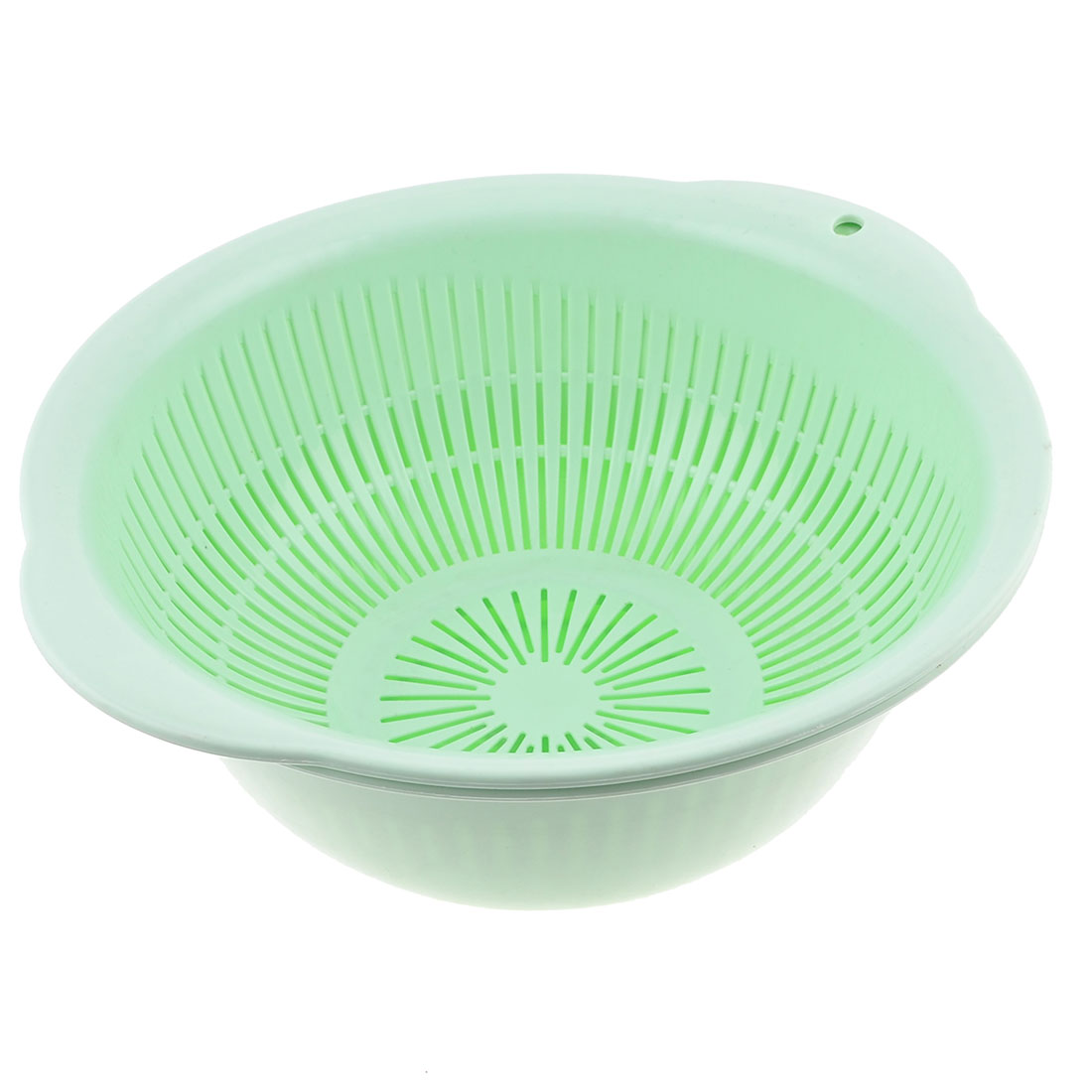 Kitchen Plastic Light Green Washing Clean Vegetable Fruit Basket Container 2 in 1