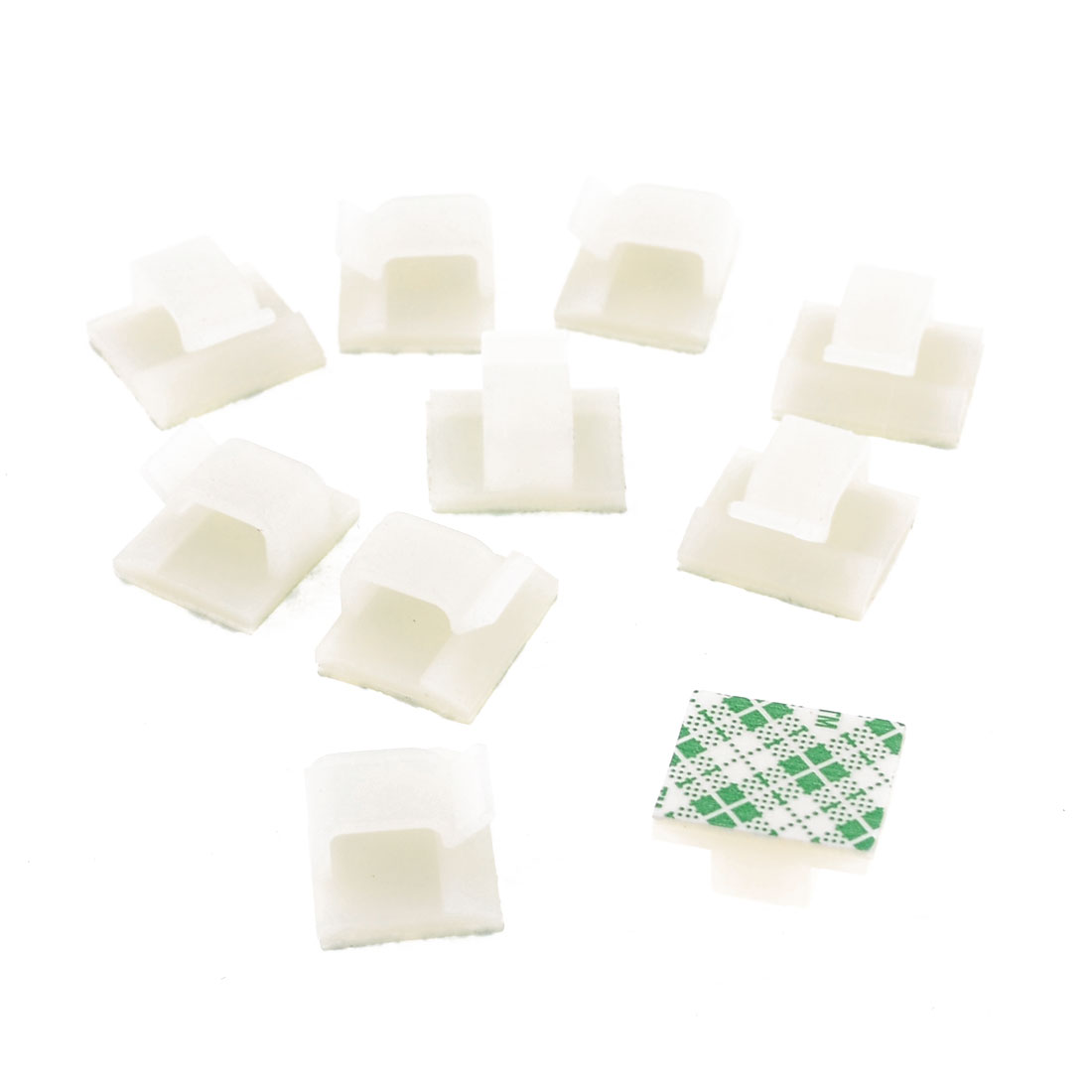 Plastic Computer Networking Wire Cord Cable Clip Organizer Green White 10 Pcs