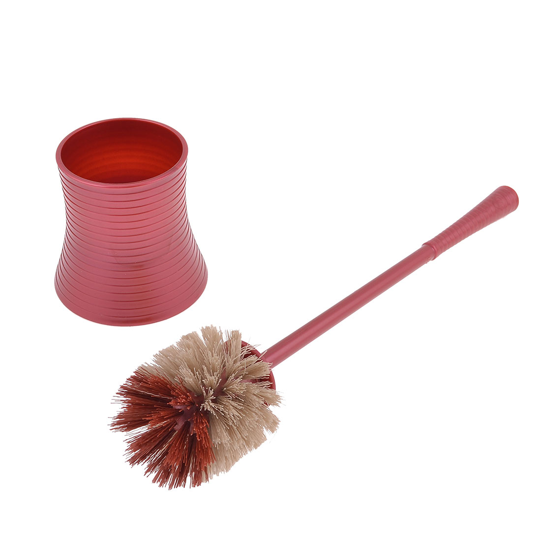 Burgundy Plastic 30cm Handle Round Bristle Head Pot Toilet Cleaning Scrubbing Brush