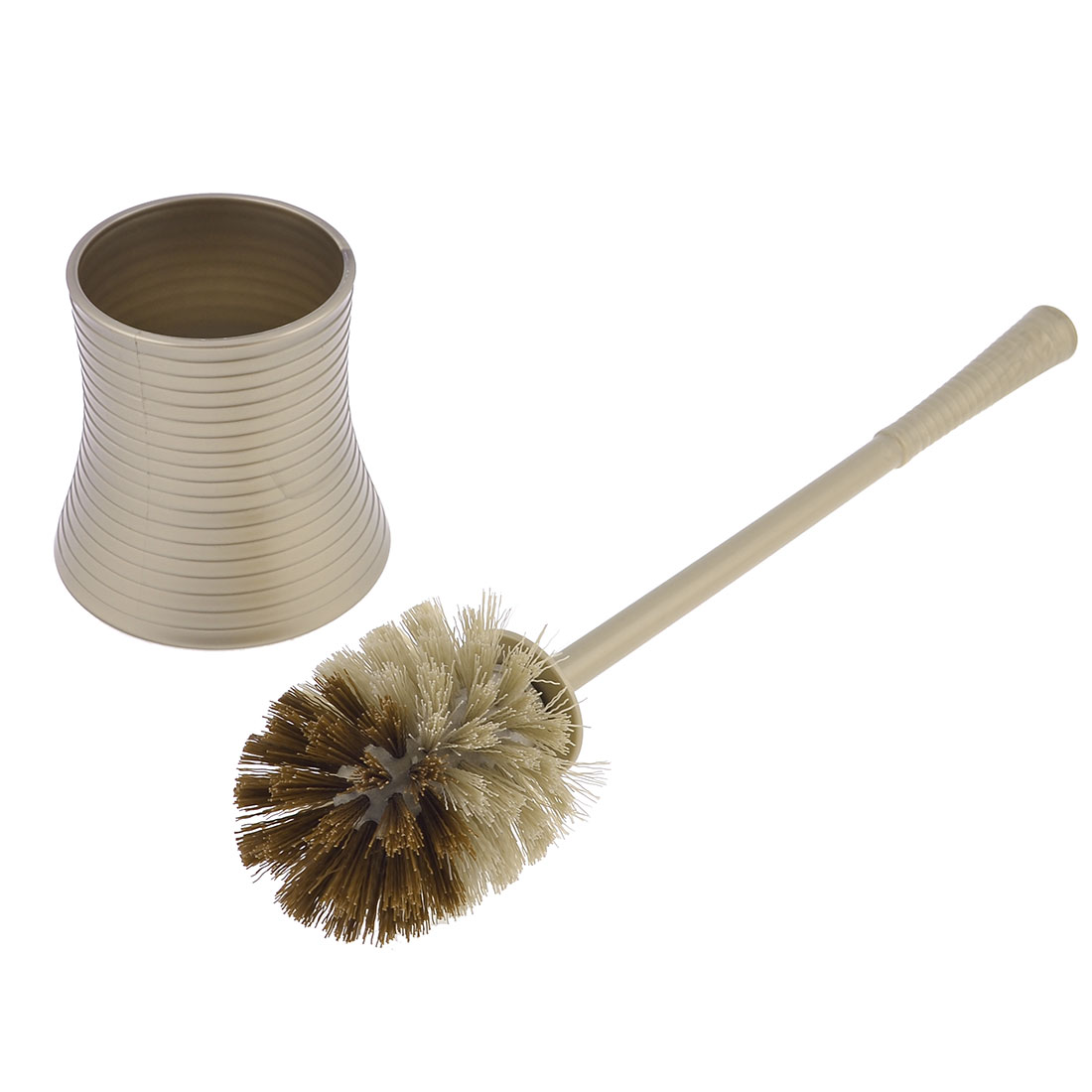 Khaki Plastic 30cm Handle Round Bristle Head Pot Toilet Cleaning Scrubbing Brush