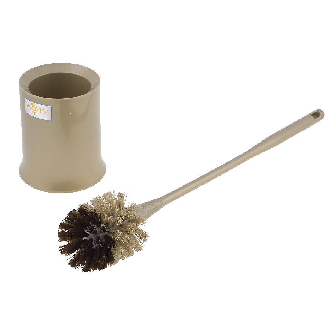 Khaki Plastic 41cm Handle Round Bristle Head Pot Toilet Cleaning Scrubbing Brush
