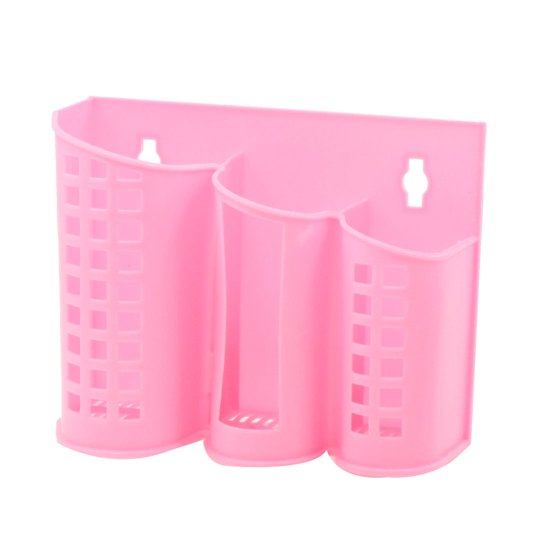 Home Kitchen Perforated 3 Compartments Plastic Hollow Grid Chopsticks Case Pink