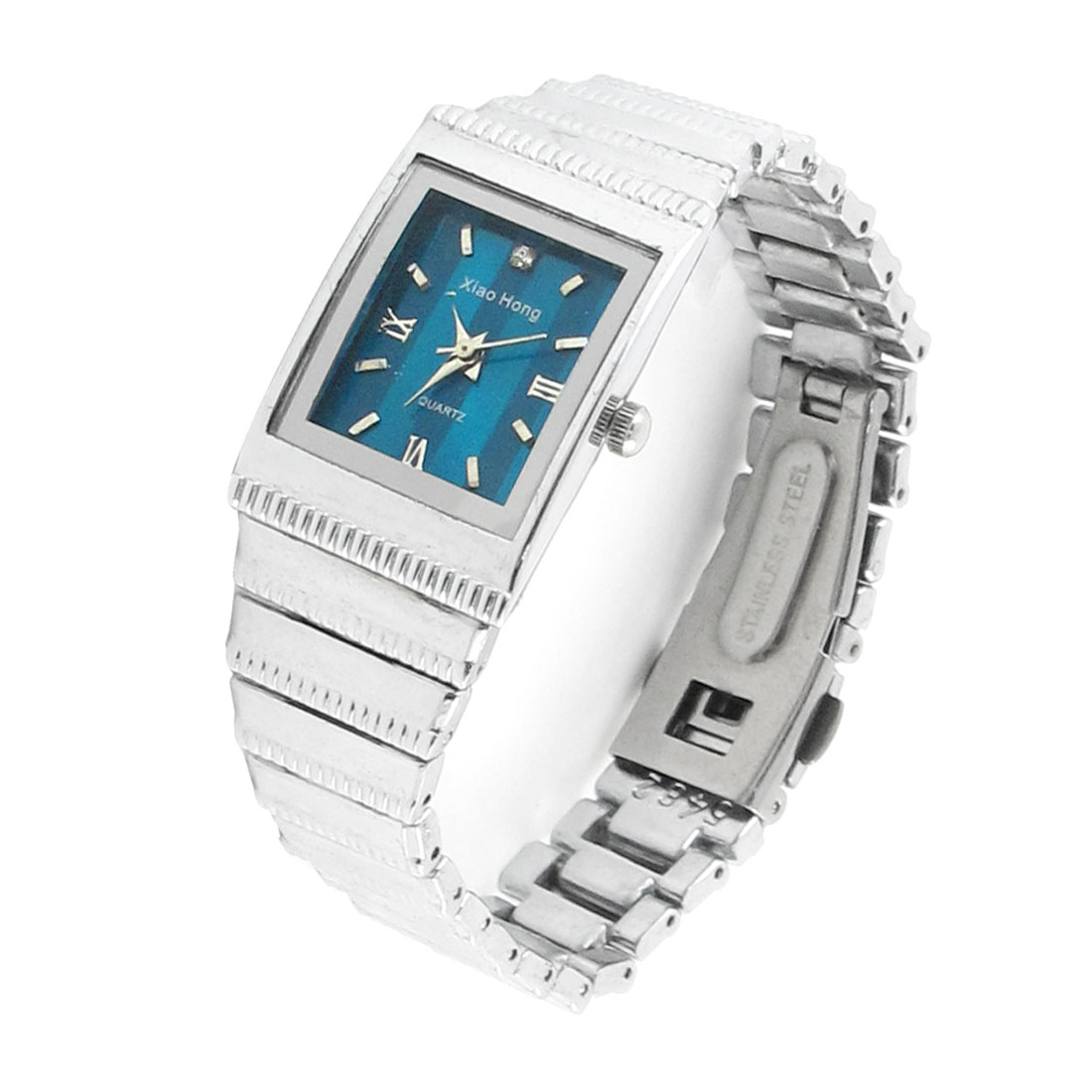 Silver Tone Blue Rectangle Dial Case Wrist Watch for Ladies