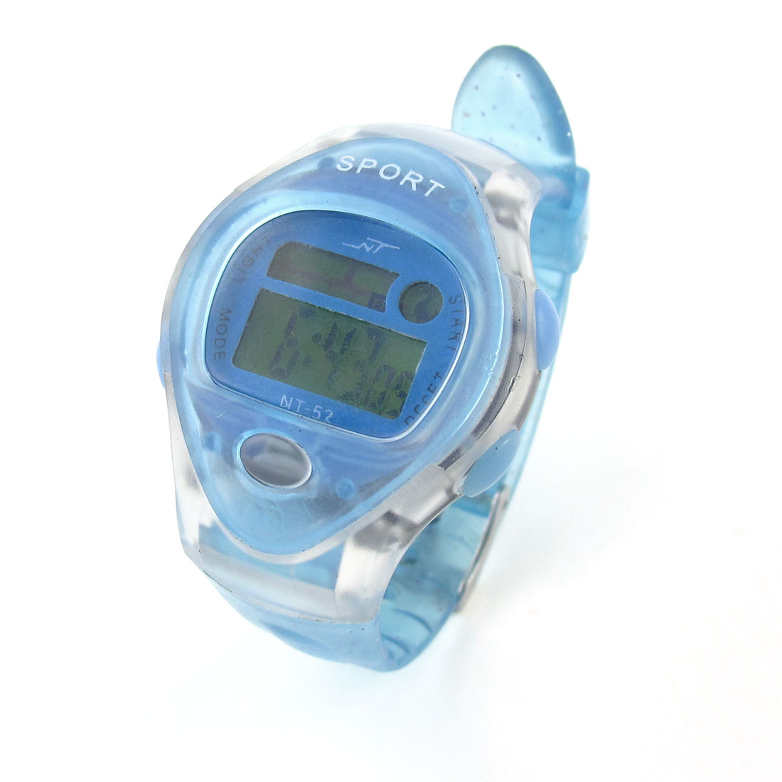Children Pale Blue Plastic Band Oval Shaped Dial Wrist Watch