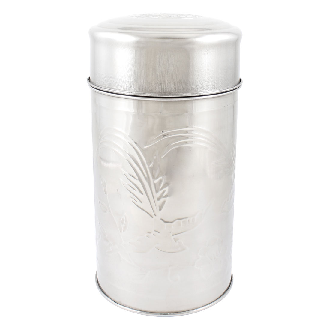 20cm High Flower Bird Print Cyinlder Shaped Tea Tin Canister Silver Tone