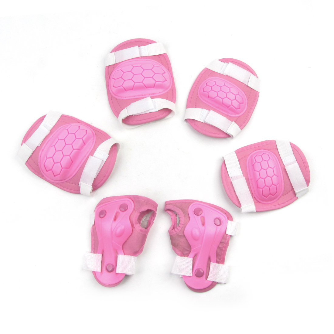 Set 6 in 1 Detachable Closure Knee Palm Elbow Protector Pink White for Kids