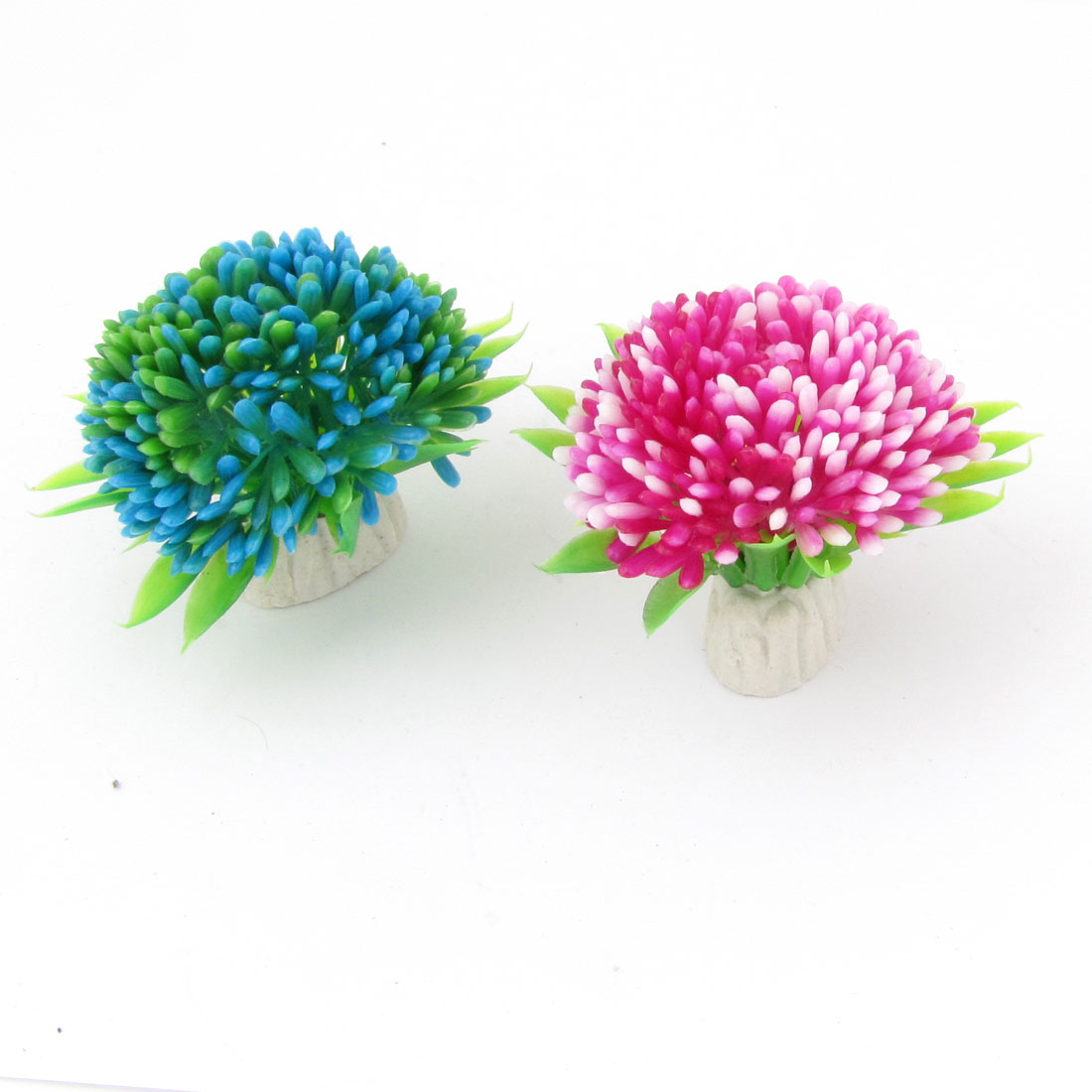 "2"" Height Landscaping Plastic Plant Grass Decor 2 Pcs for Aquarium"