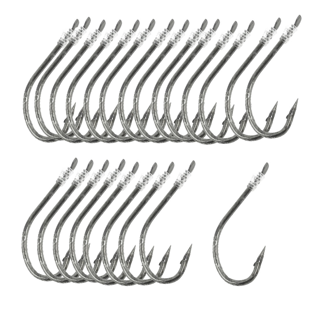 "40 Pcs 20"" Long Fishing Line 9# Darl Gray Metal Fish Hooks"