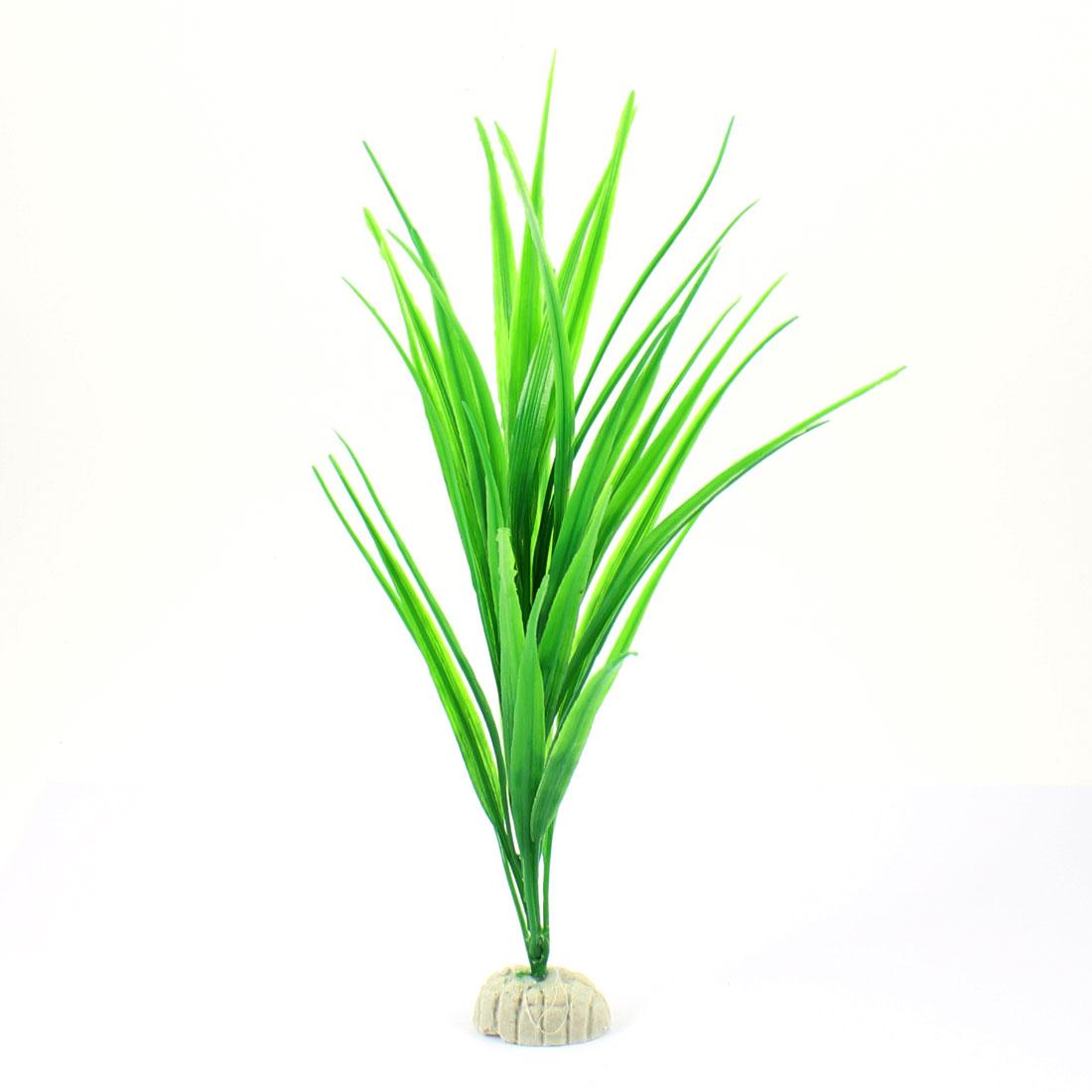 "Aquarium Tank Green Plastic Grass Plant Decoration 10.6"" Height"