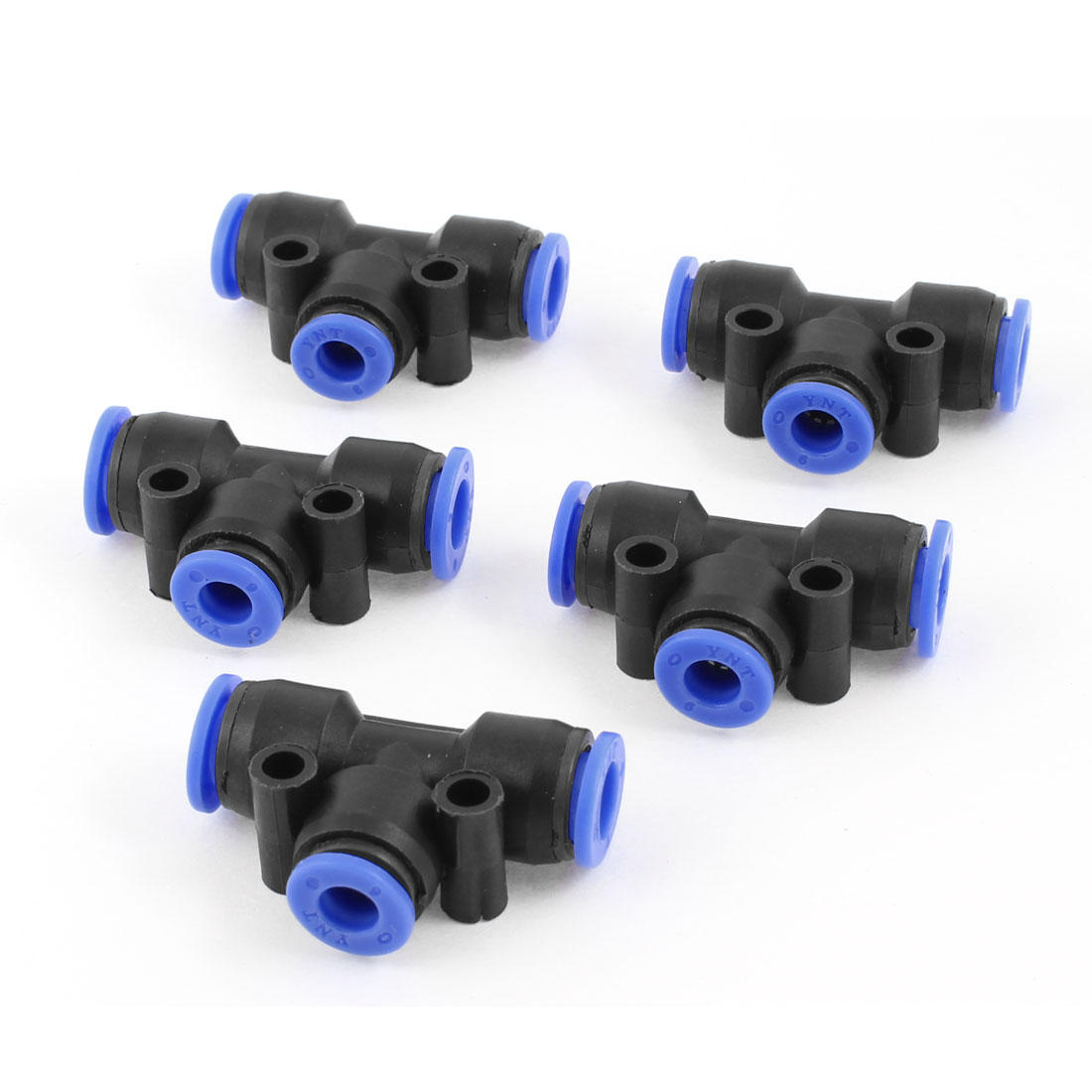 5 Pcs 8mm to 8mm One Touch Ends Piping Push In Quick Fittings T Connectors