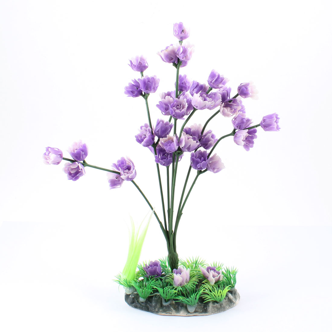 "9.5"" Height Green Grass White Purple Flower Aquatic Plant for Aquarium"