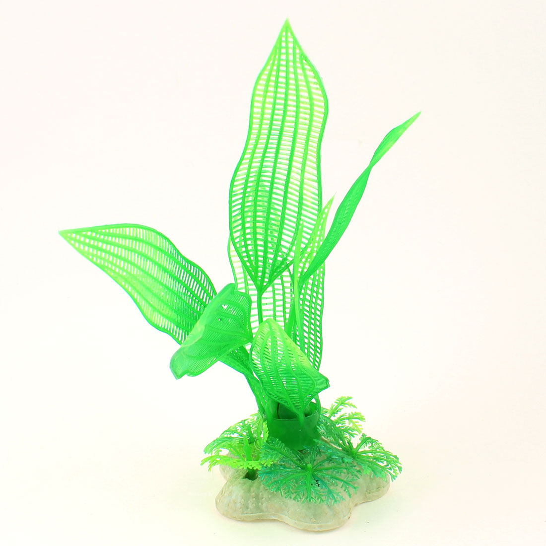 "6.3"" Height Mesh Pattern Plastic Aquatic Green Plant for Aquarium"